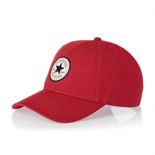 CONVERSE MENS BASEBALL CAP.RED TWILL ADJUSTABLE SNAPBACK CURVED PEAK HAT CON301